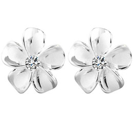 cherry blossom earrings Canada - Cherry blossom earring earrings sweet s925 sterling silver temperament 100 days South Korea simple and fresh student personality.