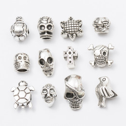 $enCountryForm.capitalKeyWord Australia - Mix skull cross Antique Silver Plated Alloy Big Hole Charms Spacer Beads fit bracelet DIY Jewelry Necklaces & Pendants charms Beads