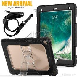 ipad mini clear silicone case 2019 - Kickstand Hybrid Silicone PC Clear Cover Heavy Duty Transparent Case With Detachable Straps For iPad Pro 9.7 10.5 2017 A