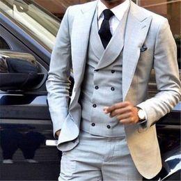 Grey Tuxedos For Groom Canada - Light Grey Custom Made Men Suit 3Pieces(Jacket+Pant+Vest+Tie) Custom Made Groom Tuxedos Bridegroom Fashion Blazer For Man