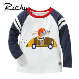 30a28b4e3 Richu branco 100% algodão manga longa meninos do bebê camisetas meninas  tops 2dshirt suor infantil menino crianças camisas da criança da caixa  engraçado ...