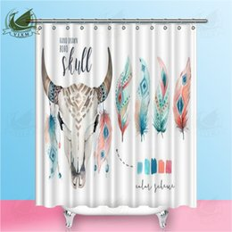 feathers home decor Australia - Vixm Watercolor Boho Cow Skull And Feathers On White Background Shower Curtains Polyester Fabric Curtains For Home Decor