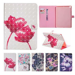 China Wallet Leather Australia - 3D Flower butterfly Pattern Wallet Card Holder Stand PU Leather Smart Case for iPad 5 6 8 9.7 2017 2018 iPad Mini 123 4 Samsung Tab