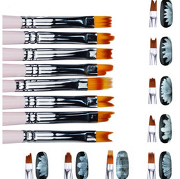 smile gel pen Canada - 8pcs lot Smile Moon Shaped Acrylic French Nail Art Brush Set UV Gel Polish Gradient Color Tips 3D DIY Painting Drawing Liner Pen