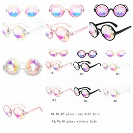 Rainbow fRamed glasses online shopping - Retro Geometric Kaleidoscope Sunglasses Men Women Sunglasses Rainbow Lens Eyewear Festive Party Supplies Fashion Sunglass GGA1184