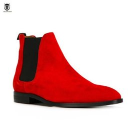 LANCELOT 2019 Luxury Brand suede leather boots British style men red color  boots slip on wedding shoes male chelsea booties c6ab56df54e0