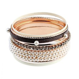 China 8pcs Fashion Elegant Rhinestones Pearls Bracelets Alloy Bracelets for Women Set cheap elegant pearl set bangles suppliers