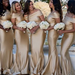 Discount cheap satin robes coral - Modern Champagne Mermaid Bridesmaid Dresses 2019 Cheap Off Shoulder Floor Length Wedding Guest Dresses Prom Gowns Robes