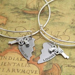 Wholesale 12sets Thelma and Louise Set Bracelet Metal best friends sister Friendship partners in crime bangles adjustable