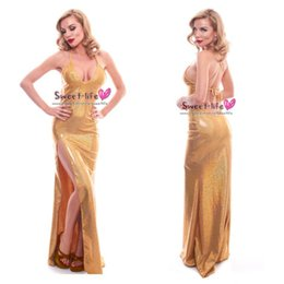 Wholesale Long Sexy Gold Sequins Sheath Sleeveless Sparkly Spaghetti Evening Dress Backless High Slip Dance Party Dresses Nightgown Lace Up Ball Gowns
