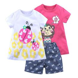$enCountryForm.capitalKeyWord NZ - Kids Clothing Sets Animal design 3PCS Baby Girls T shirt Top+Denim shorts Summer Suit Child Clothes Set