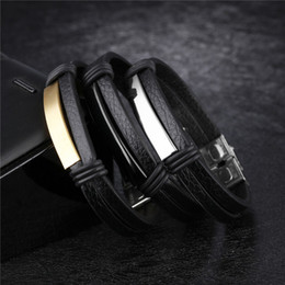 men best sports bracelet 2020 - New Punk Leather Bracelet for Men black Stainless Steel Clasp Wristband Male Jewelry Vintage Fashion Best Gifts
