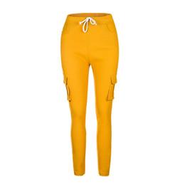 $enCountryForm.capitalKeyWord Canada - Europe Russia Women casual Long Pants Black green Cotton Patchwork multi-pockets Tight waist elastic Drawstring slim Trousers