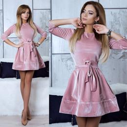 179650a782 Women Retro Korean Velvet Dress 2019 Autumn And Winter Casual Three Quarter  Sleeve Pink Color Bottom Dresses Hot Sale