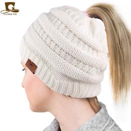 Braiding Hair Cap NZ - Best Selling Logo Wool Knitting Hole Cap Ponytail Braid Ski Hat Hair Ring 2