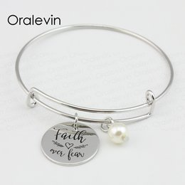 wholesale faith bracelets Australia - FAITH OVER FEAR Inspirational Hand Stamped Engraved Round Charm Pendant Charms Expandable Wire Bangle Bracelet Jewelry 10Pcs Lot,#LN315B