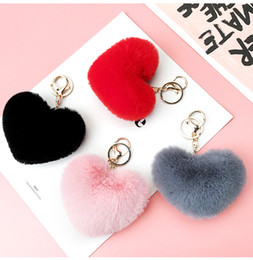 universal charm NZ - Plush Heart Cell Phone Charms DIY Soft Hair Ball Phone Key Chain Pendant For Universal Fashion Cellphone Women Bags Accessories Free DHL 802