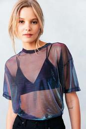 $enCountryForm.capitalKeyWord Australia - Summer Sexy 2019 Mesh Tee See-Through Women T-shirts Short Sleeve Perspective Shine Casual Women Tops Lady Vintage Blusa