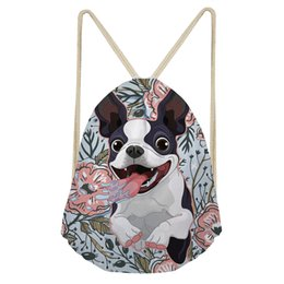 Wholesale Coloranimal Women s Casual Drawstring Bags Floral Yorkie Fancy French Bull Dog Printed Shoulder Bags for Girl Boys Storage