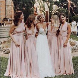 Lavender Blush Wedding Dress Australia - Blush Pink Bridesmaid Dress Cap Sleeve Pleats Floor Length Belt Chiffon Formal Dress For Wedding Guest Vestidos De Maid Of Honor Dresses
