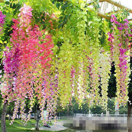 Chinese  2018 Artificial Wisteria Fake Hanging Vine Silk Foliage Flower Leaf Garland Plant Home garden wedding Decoration Colors for choose manufacturers