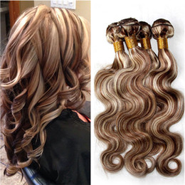 Piano Hair Weave NZ - #8 613 Mix Piano Color Brazilian Virgin Human Hair Bundles Deals Body Wave 4Pcs Brown Highlight Mixed with Blonde Piano Color Hair Weaves