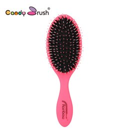 Discount comb bristles - Natural Boar Bristle Hairbrush with Nylon Women Wet Hair brush Barber Scalp Massage Comb for Hair