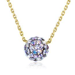 $enCountryForm.capitalKeyWord Australia - Pure 925 Sterling Silver Necklace Female Crystal Ball Pendant Necklace Women Silver Chain Elegant Jewelry Anti-allergic