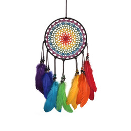art craft wall hanging NZ - Colorful Dream Catcher with Feather Handmade Wall Hanging Decoration Ornament Car Home Hanging Hoops Craft Dreamcatcher MS0005