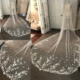 White Ivory Cathedral Length Top Lace Appliqued 3m Long Bridal Wedding Veils With Free Comb 2019