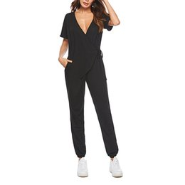 Sexy Casual Women Jumpsuit Australia - Women Jumpsuits Casual Sexy V-neck Solid Loose Short Sleeve Playsuits Jumpsuits Women Rompers Clothes