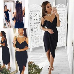 Online Dark Navy Chiffon Homecoming Dresses Sexy V Neck Capped Sleeves Formal  Cocktail Party Club Wear 0ebdf5e31