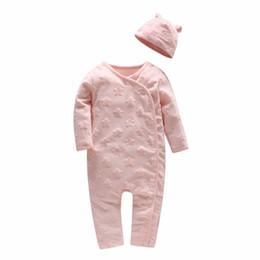 Discount baby romper velvet - Picturesque Childhood Beau Loves Star Print Baby Girl Long Sleeve Romper Upscale Velvet Stereo Star with Baby Hat Pink