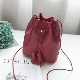6c628b8d1e13 Wholesale Leather Tassel Bag Australia - PU Leather Bucket Bag Female 2019  Women Crossbody Purse Tassel