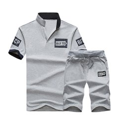 Men chaMpagne suits online shopping - Summer Gray Letter Printed Men T Shirts Sport Suit Men Short Sleeve O Neck Print Shirt and Shorts Sets Men Sportswear Plus Size M XL