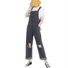 d9bb5d014d99 MORUANCLE Fashion Women Baggy Ripped Denim Bib Overalls With Holes  Distressed Jeans Jumpsuits Female Destroyed Suspender Pants