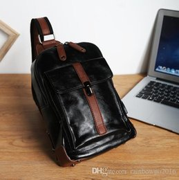 Color Leather Bags Australia - wholesale brand mens bag, trend of Korean color leather men chest bag double color buckle chest bag leisure leather backpack after riding