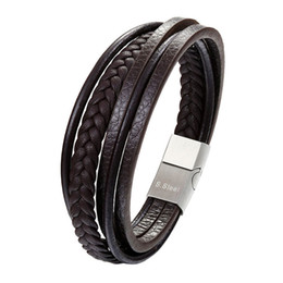 Fashion Genuine Leather Bracelet Men Stainless Steel Bracelets DIY Braided Rope Chain Por Male Jewelry Vintage Gifts Pulseira on Sale