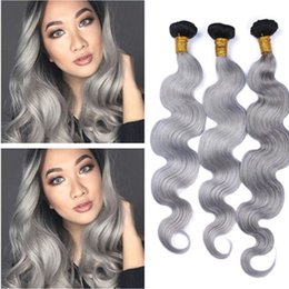 Discount grey remy hair extensions - Body Wave Brazilian Silver Grey Ombre Human Hair Weave Extensions 3Pcs #1B Grey Dark Root Ombre Virgin Remy Human Hair B