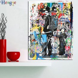 Oil canvas peOple online shopping - ZYXIAO cartoon people Oil painting on Canvas Professional Art Poster No Frame Wall Picture for Living Room Sofa Home Decor ys0008