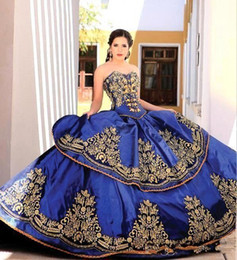 quinceanera gold brown ruffle embroidery 2019 - 2018 Royal Blue Latest Sweetheart Embroidery Ball Gown Princess Quinceanera Dresses Lace Bodice Waist Backless Evening D