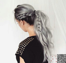 body wave ponytails 2019 - 100 virgin human hair Grey wavy ponytail hairpiece 9A Body wave gray drawstring ponytail hair extension 120g 140g free s