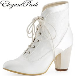 3285b4fb16b Women Short Boots Pointed Toe Chunky Heel White Ivory Lace up Satin Bride  Bridesmaids Ladies Bridal Shoes Wedding booties HC1528