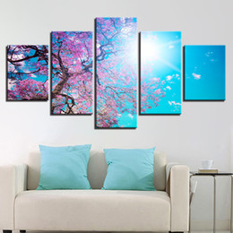 cherry blossom picture Canada - 5 piece Canvas Painting Cherry Blossoms Tree Under The Blue Sky landscape canvas poster print for living room home decoration