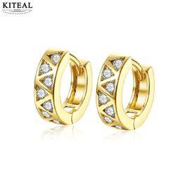 721bdfcc6f50 KITEAL Vintage Love Gold color White mujeres pendientes Zircon tallado pequeño  aro moda estilo brinco encantos