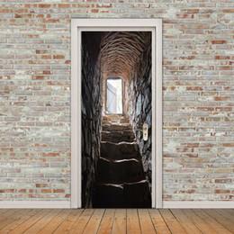 3D стереоскопический камень лестница двери наклейки настенной росписи обои Home Decor Европейский творческий DIY самоклеящиеся ПВХ росписи наклейки