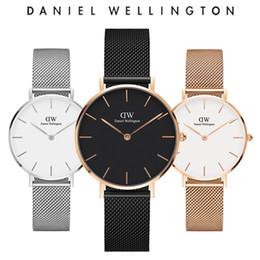 Опт Новая Мода Девушки Стальная полоса кожа D- Веллингтон часы 32 мм женские часы Роскошные D-W Кварцевые часы Relogio Feminino Montre Femme