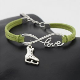 Figure Skating Wholesale NZ - Bohemian Infinity Love Figure Skating Boots Shoe Charm Bracelet For Women Men Ethnic Green Leather Suede Bangles Wristband Jewelry Accessory