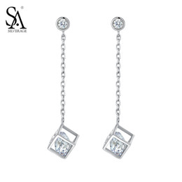 sa jewelry Canada - SA SILVERAGE 925 Silver Drop Earrings For Women Cube Pendant Long Earrings With CZ Pure Silver Jewelry Party Gift Accessories Y18110110