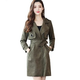 cotton windbreakers UK - 2018 New Fall Long Suede Trench Coat Women Sashes Open Stitch Womens Windbreakers Slim Feminine Coat Overcoat Female